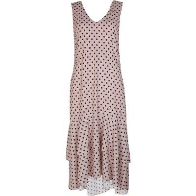 Blush Polka Dot Print Tiered Dress