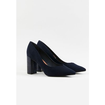 The Chic Heels To Add To Your Collection. A Sophisticated Navy Finish Keeps These Timeless And Easy To Pair, Whilst A Chunky Block Heel Is Sure To Take Your Look To The Next Level.  Heel Height: 80Mm Wide Fit Heeled Shoes 100% Microfibre. Wipe Clean Only.