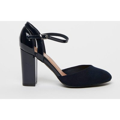 Refresh Your Wardrobe Staples With These Classic Navy Heels. A Round Toe, Versatile Navy Hue And Ankle Strap Bring Timeless Style, Whilst Contrasting Textures Give Them A Contemporary Edge.  Heel Height: 90Mm Standard Fit Heeled Shoe Patent 100% Mixed Fib