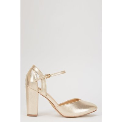 The Stylish Heels To Add To Your Collection. A Gold Finish Is On-Trend And Easy To Wear, Whilst Shimmer Detailing And Contrasting Textures Bring Added Style.   Heel Height: 90Mm. Standard Fit. Heeled Shoe. Polyurethane. Wipe Clean Only. Style: Castle