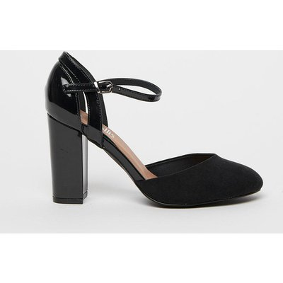 Refresh Your Wardrobe Staples With These Classic Black Sophisticated Shoesheels. A Round Toe, Sleek Black Hue And Ankle Strap Bring Timeless Style, Whilst Contrasting Textures Give Them A Contemporary Edge.  Heel Height: 90Mm Standard Fit Heeled Shoe Pate