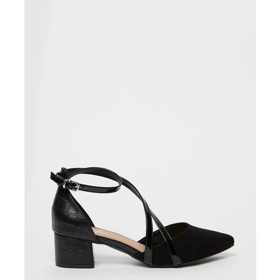 The Versatile Shoes To Add To Your Collection. A Low Block Heel Keeps These Comfy And Easy To Wear, Whilst Contrasting Textures And A Strappy Design Bring Added Style.  Heel Height: 45Mm Standard Fit Block Heel Heeled Shoe Patent 100% Mixed Fiber Wipe Cle
