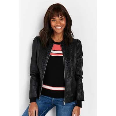 Pick Up A Wardrobe Staple With This Classic Black Jacket. Timeless Faux-Leather Will Bring A Stylish Edge To Any Look, Whilst A Sleek Black Hue Means It Wll Pair With Anything In Your Wardrobe.&Nbsp;  Jacket Long Sleeve Relaxed Casual 100% Polyurethane. M