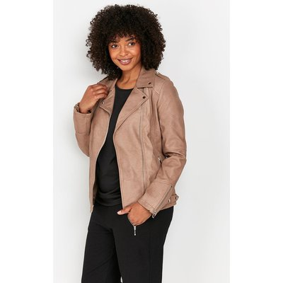 The Chic Jacket To Add To Your Collection. A Classic Biker Shape And Faux Leather Finish Keeps This Timeless And Easy To Wear, Whilst A Stone Hue Makes It A Must-Have For This Season.&Nbsp;  Jacket Long Sleeve Open Relaxed Casual 100% Polyurethane. Machin