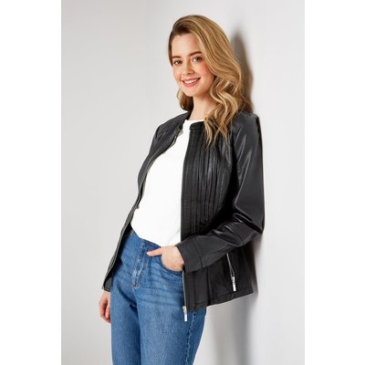Pick Up A Wardrobe Staple With This Classic Biker Jacket. A Classic Faux Leather Finish Brings Timeless Style, Whilst A Sleek Black Hue Means It Will Pair With Anything In Your Wardrobe.&Nbsp;  Jacket Zip Long Sleeve Relaxed Casual 100% Polyurethane Machi