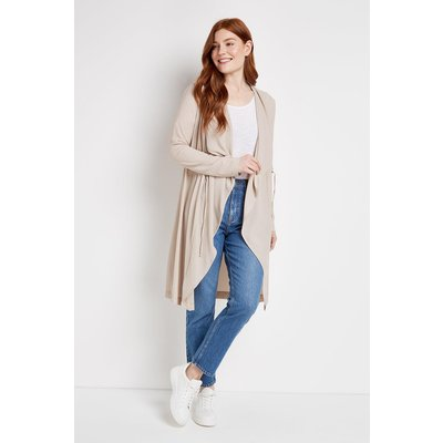 A Versatile Jacket For Your New Season Wardrobe. A Chic Stone Finish Is On-Trend And Easy To Wear, Whilst A Toggled Waist And Waterfall Front Mean This Elegant Duster Is Sure To Flatter.  Duster Open Neck Long Sleeve Loose Longline Casual 95% Polyester, 5