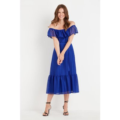 Blue Geo Lace Bardot Tiered Dress