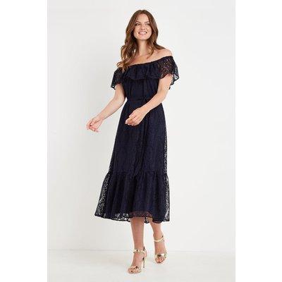 Lace Bardot Tiered Dress