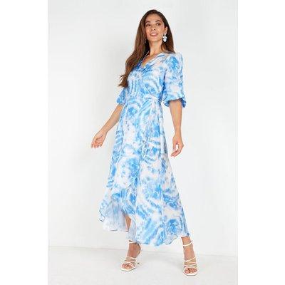 Blue Tie Dye Volume Wrap Midi Dress