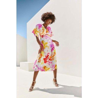 Pink Abstract Kimono Sleeve Dress