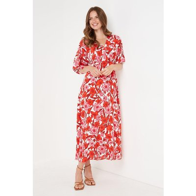 Tall Red And Pink Floral Kimono Sleeve Dress