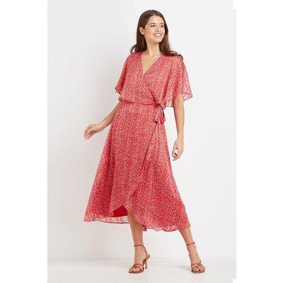 Tall Red Ditsy Metallic Cape Sleeve Dress