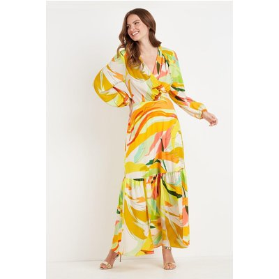 Tall Lime Abstract Tiered Maxi Dress