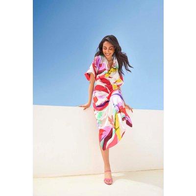 Petite Red Abstract Kimono Sleeve Dress