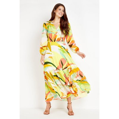 Lime Abstract Tiered Maxi Dress