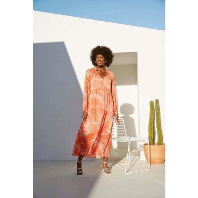 Orange Large Paisley Chiffon Tiered Dress