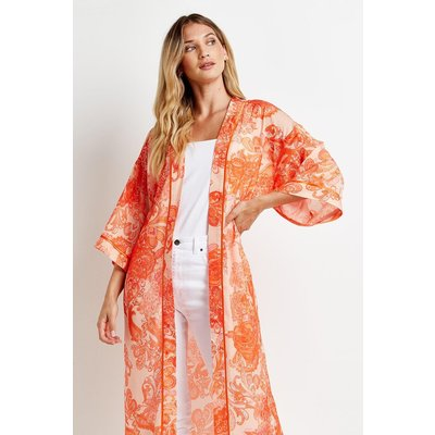 Orange Large Paisley Satin Kimono