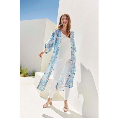 Blue Ornate Tile Print Satin Kimono