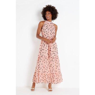 Pink Metallic Spot Tiered Maxi Dress