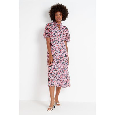 Lilac Watercolour Floral Angel Sleeve Dress