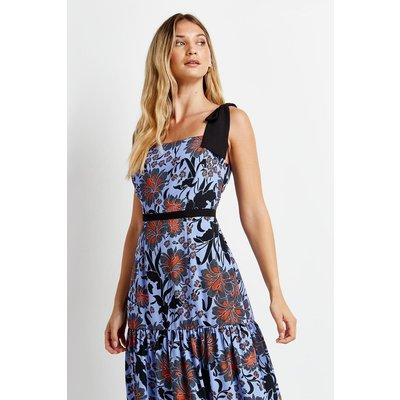 Blue Floral Contrast Tie Tiered Dress