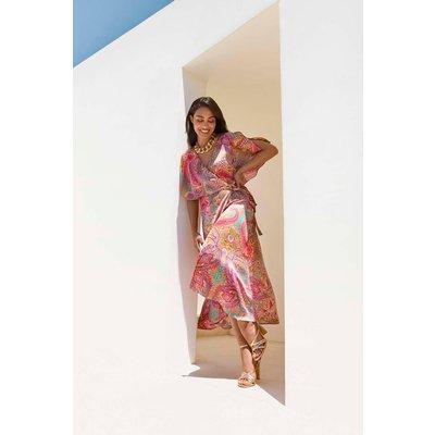 Petite Pink Paisley Cape Sleeve Dress