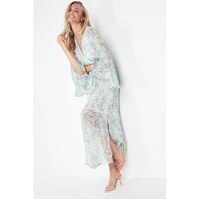 Metallic Paisley Frill Sleeve Maxi Dress