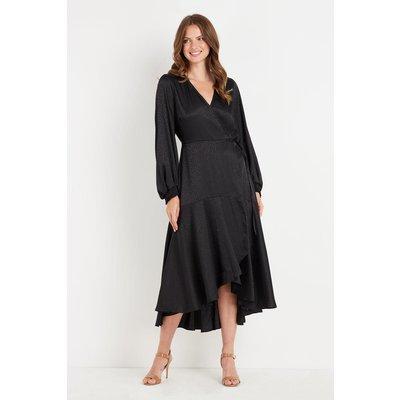 Black Animal Jacquard Wrap Dress