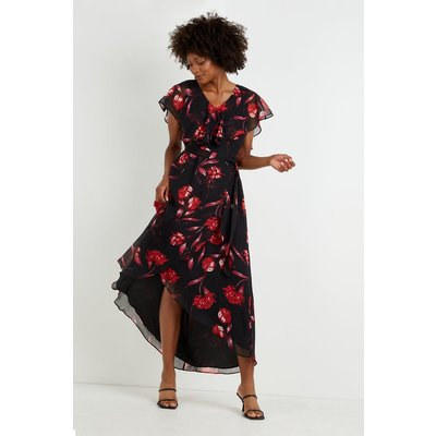 Black Peony Floral Cape Dress