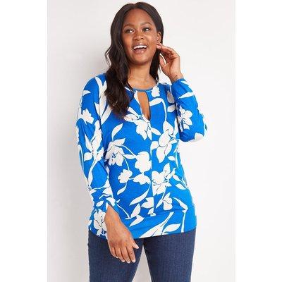 Curve Blue Floral Silhouette Jersey Top