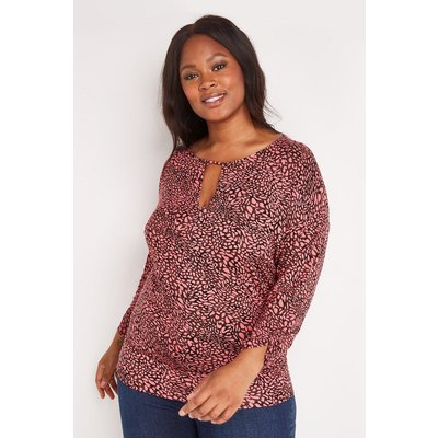 Curve Pink Animal Jersey Banded Top