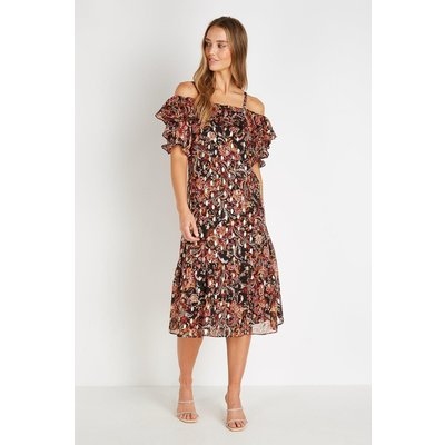 Petite Red Gold Paisley Cold Shoulder Dress