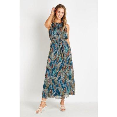 Petite Paisley Leaf Halter Maxi Dress