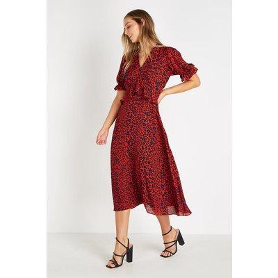 Red Animal Blouson Sleeve Midi Dress