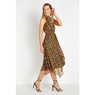 Petite Ditsy Metallic Ruffle Halter Dress