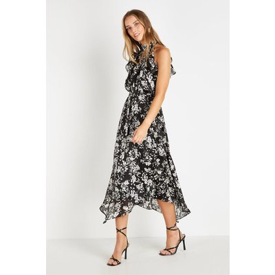 Monochrome Metallic Ruffle Halter Midi Dress