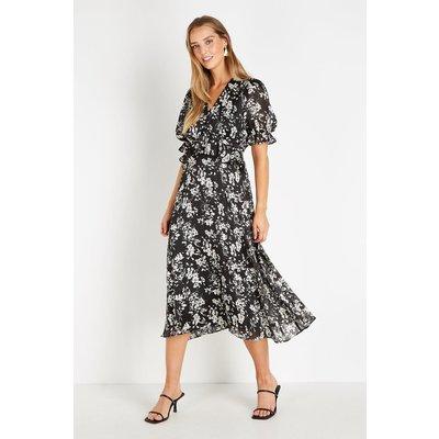 Monochrome Metallic Floral Blouson Dress