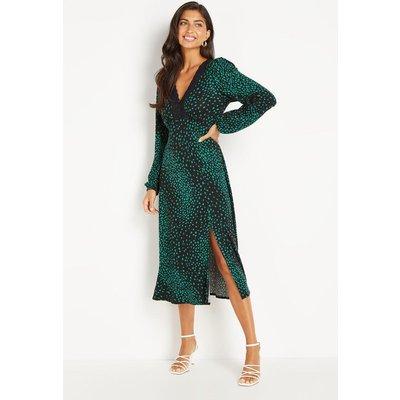 Green Spot Lace Trim Jersey Midi Dress