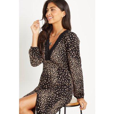 Mono Spot Lace Trim Jersey Midi Dress