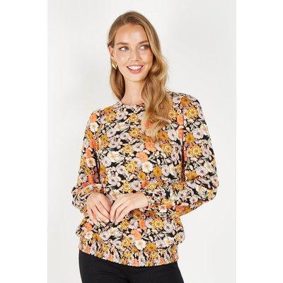 Multi Floral Jersey Shirred Hem Top