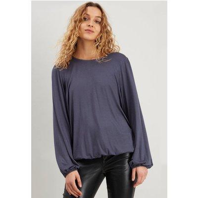 Grey Shirred Hem Jersey Top