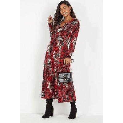Tall Red Snake Print Split Midi Dress