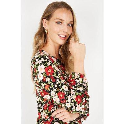 Black Floral Jersey Shirred Hem Top
