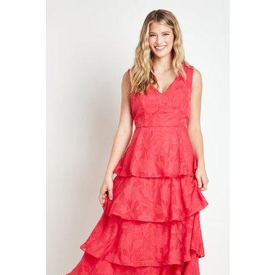Jacquard V Neck Sleeveless Layered Dress