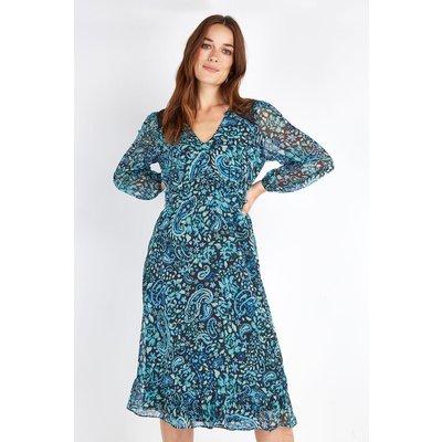 Petite Teal Paisley Lace Shoulder Midi Dress