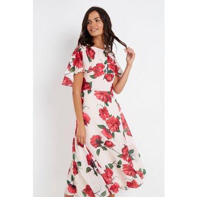 Red Rose Angel Sleeve Dress