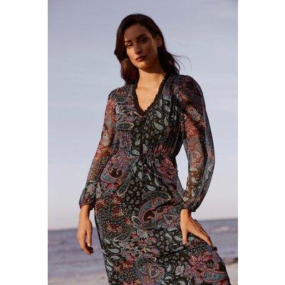 Paisley Micro Frill Midi Dress