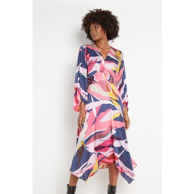 Navy Abstract Twist Front Dress