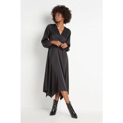 Black Satin Twist Front Dress