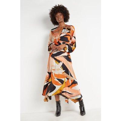 Tall Ochre Abstract Twist Front Dress